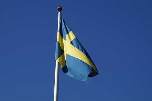 Sweden, Flag, Blow, Wind, Sky