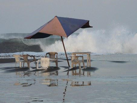 Sea, Beach, Storm, Castrated Ram, Sunshade, Easter
