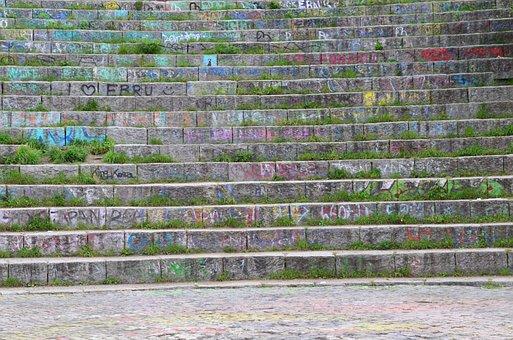 Stairs, Gradually, Font, Graffiti, Colorful, Chalk