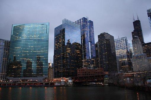 Skyline, Chicago, City, Chicago Night, Chicago River