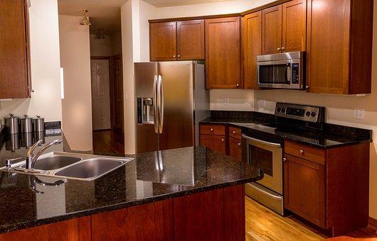 Kitchen, Cabinets, Countertop, Granite, Cherry Wood