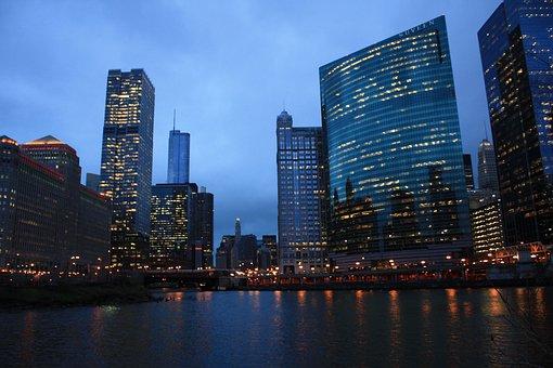 Chicago, River, Night, Blue, Sky, Deep Blue
