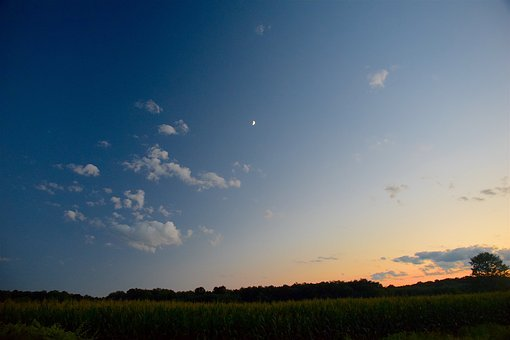 Sunset, Moon, Sky, Nature, Landscape, Evening, Scenic