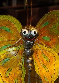 Butterfly, Fig, Metal, Art, Garden, Colorful, Cheerful