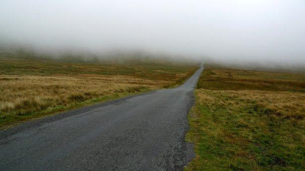 Mist, Road, Fog, Obscured, Hidden, Cloud, Moor