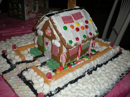 Gingerbread House, Marshmallow Art, Cookies, Decoration