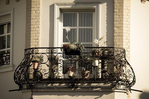 Balcony, Iron, Wrought Iron, Blacksmithing, Flowers