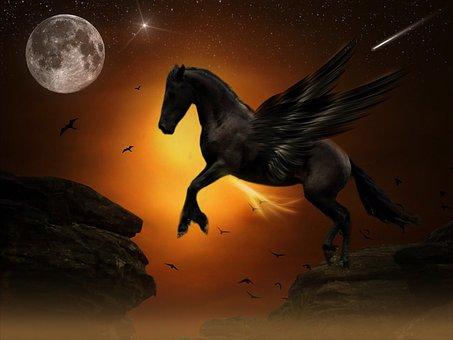 Pegasus, Moon, Jump, Rock, Gold, Youth, Freedom