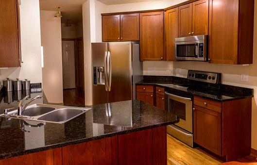 Kitchen, Cabinets, Countertop, Granite, Cherry Wood