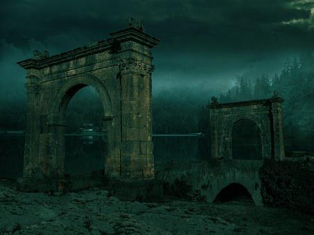 Arch, Bridge, Lake, Silence, Fog, Blue, Noght, Darkness