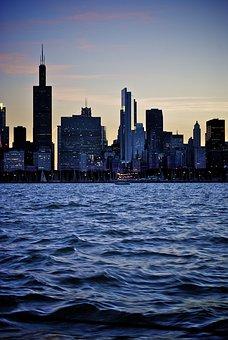Chicago, Skyline, Lake, City, Architecture, Cityscape