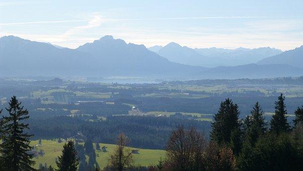 Allgäu, Panorama, Mountains, Säuling, Lake Forggensee