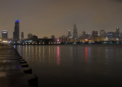 Chicago, Night, Night Image, Skyline, Lake Mi