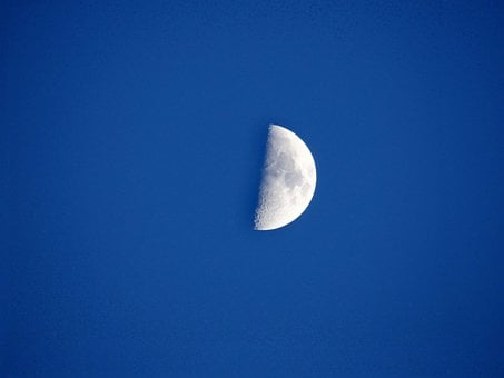 Half Moon, Night, Sky, Nature, Chicago, Space