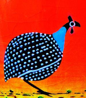 Guinea Fowl, Drawing, Colorful, Image, Painting
