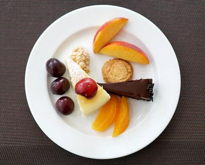 Dessert, Fruit, Cake, Plate, Cherry, Confectionery