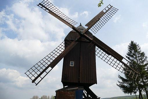 Post Mill, Danstedt, Sky, Blue, Clouds, Old, Beautiful