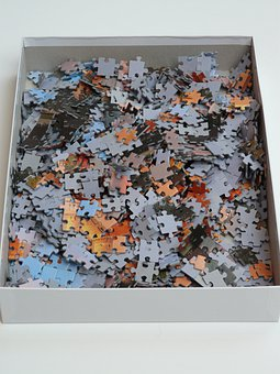 Puzzle, Unfinished, Cardboard, Box, Mess, Unresolved