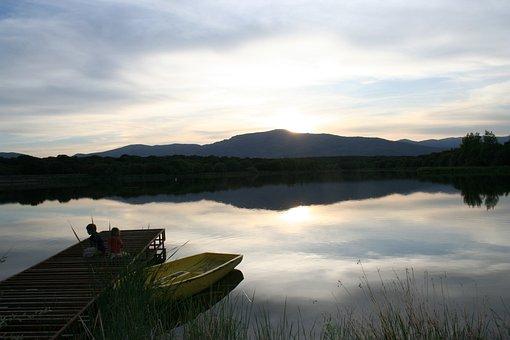 Lake, Reservoir, Sunset, Barca, Fishing, Children, Girl