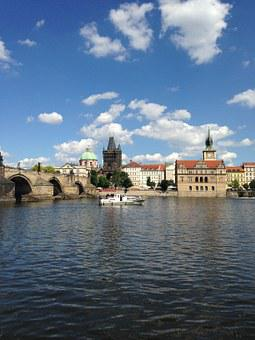 Charles Bridge, Vltava, Prague, Steamer, River, Bridge