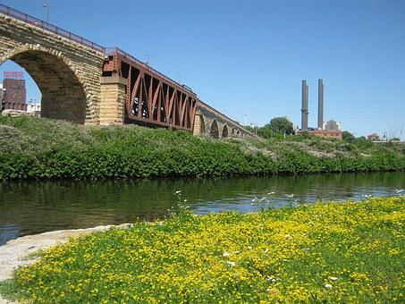 Minneapolis, Bridge, Minnesota, River, Mississippi