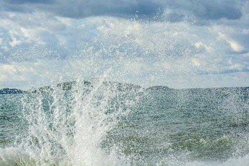 Sea, Waves, Water, Rocks, Spray, Riva, Wind, Blue