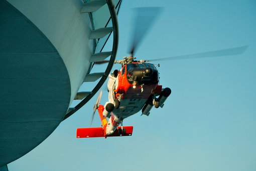 Helicopter, Military, Flying, Coast Guard, Ship, Vessel