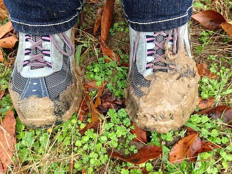 Mud, Boots, Shoes, Foot, Hiking, Land, Active, Life