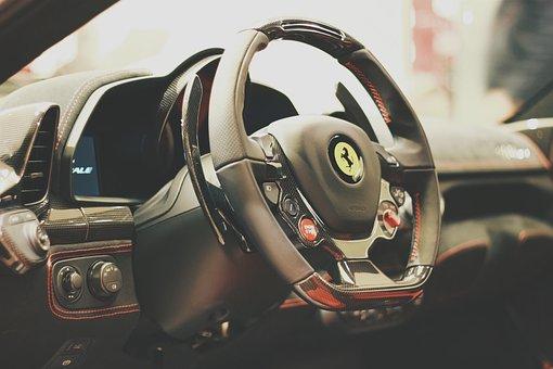 Car, Sports Car, Steering Wheel, Ferrari