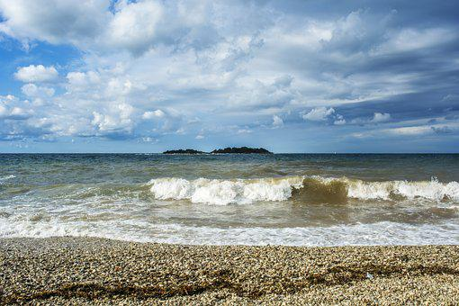 Sea, Waves, Beach, Water, Horizon, Spray, Riva, Sky