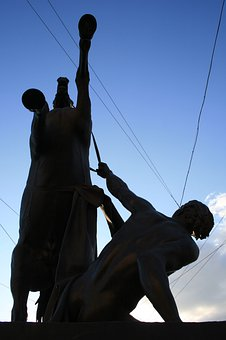Statue, Horse, Man, Silhouette, Bronze, St Petersburg