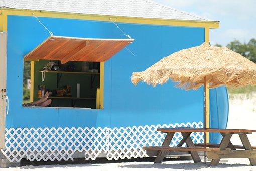 Beach, Umbrella, Straw, Stand, Summertime, Sunshade
