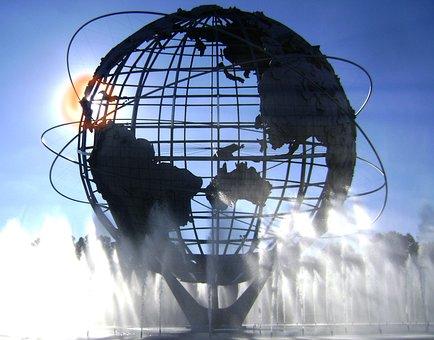 Unisphere, Sun, Corona, Park, Nature, Water, Globe