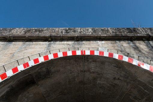 Bridge, Railway Bridge, Tunnel, Warning Color, Red