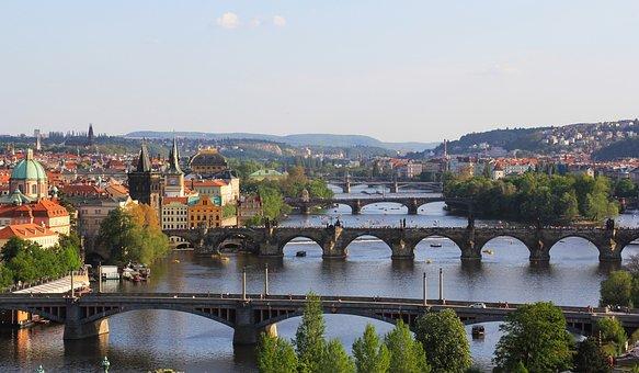 Sun, Old, Sky, View, Dome, City, Prague, River, Czech