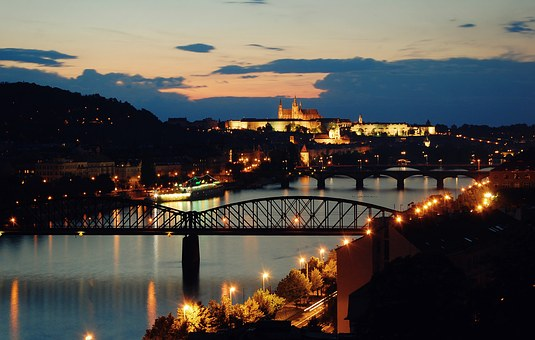 Prague, Evening, Sunset, Vltava, The Lights Of The City