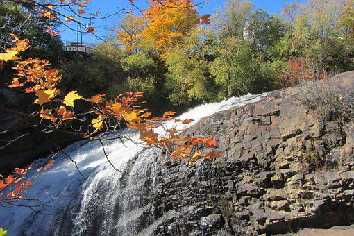 Waterfalls, River, Leaves, Cascade, Fall, Nature, Water