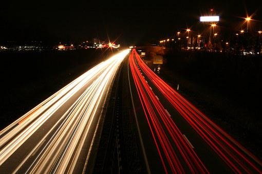 Long Exposure, Autos, Lights, Road, Night, Light
