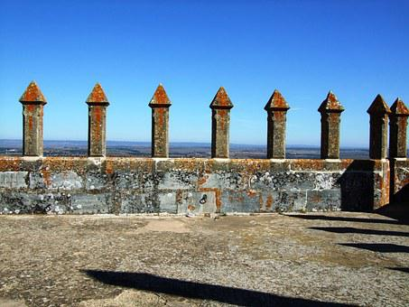 Castle Wall, Battlements, Castelo De Beja, Beja