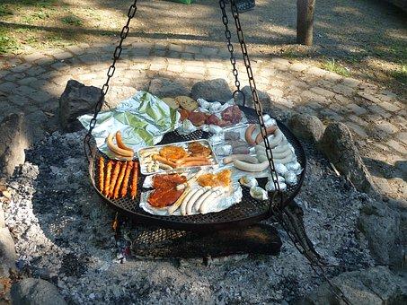 Barbecue, Meat, Barbecue Area, Campfire, Delicious
