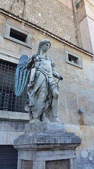 Castel Sant'angelo, Statue, Rome, Sant, Castle, Saint