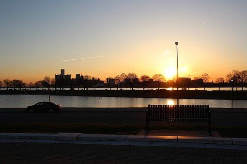 Sunset, City, Park, Urban, Evening, River, Detroit