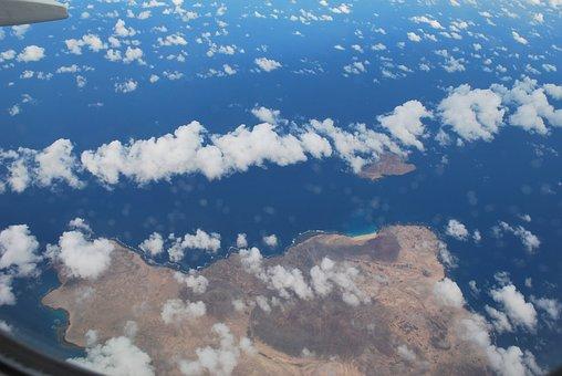 Plane View, View, Sea, Clouds, Sky, Fuerta Ventura