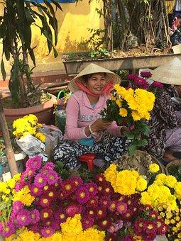 Hoi An, Vietnam, Flowers, Market