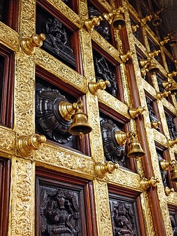 Hindu Temple, Bells, Wooden, Door, Architecture, Golden