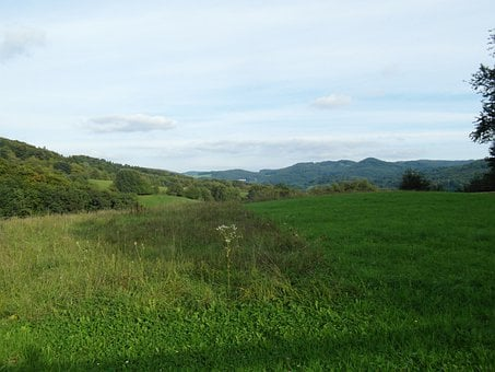 Odenwald, Landscape, Sunny, Hill, Sky, Gentle, Green