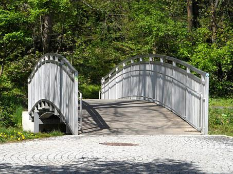 Bridge, Railing, Idyllic, Sunshine, Summer, Spring
