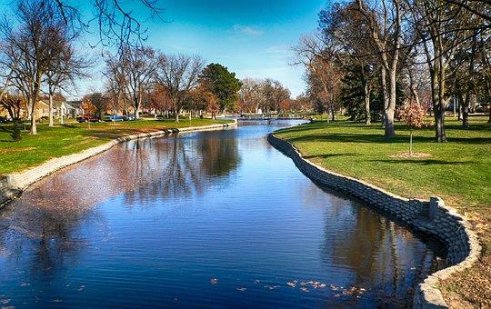 Hastings, Nebraska, Park, Trees, Lake, Canal, Water