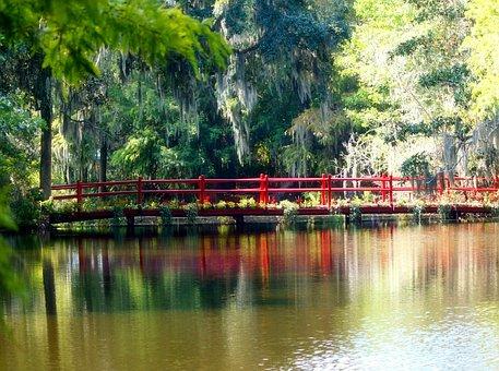 Red Bridge, Spanish Moss, Swamp, Pond, Waterway, Path