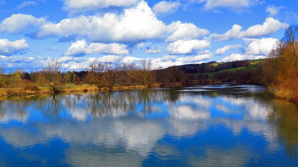Lake, Water, February, Clouds, Mirroring, Reflect